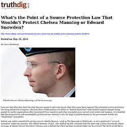 What's the Point of a Source Protection Law That Wouldn't Protect Chelsea Manning or Edward Snowden?