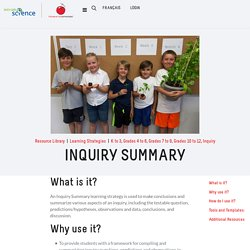 Try It! - Inquiry Summary
