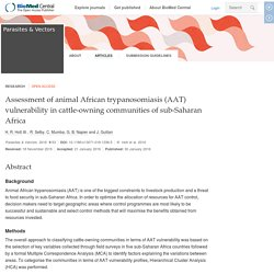 PARASITES & VECTORS 30/01/16 Assessment of animal African trypanosomiasis (AAT) vulnerability in cattle-owning communities of sub-Saharan Africa