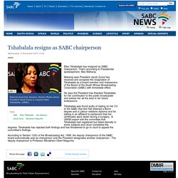 Tshabalala resigns as SABC chairperson:Wednesday 17 December 2014