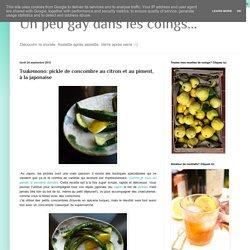 Un peu gay dans les coings...: Tsukemono: pickle de concombre au citron et au piment, à la japonaise