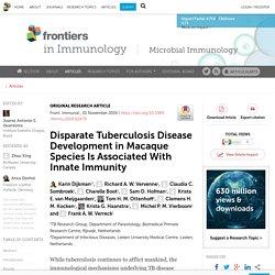 FRONT. IMMUNOL 01/11/19 Disparate Tuberculosis Disease Development in Macaque Species Is Associated With Innate Immunity