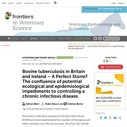 FRONT. VET. SCI 03/05/18 Bovine tuberculosis in Britain and Ireland – A Perfect Storm? The confluence of potential ecological and epidemiological impediments to controlling a chronic infectious disease.