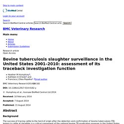 BMC VETERINARY RESEARCH 15/08/14 Bovine tuberculosis slaughter surveillance in the United States 2001–2010: assessment of its traceback investigation function