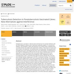 PLOS 10/01/17 Tuberculosis Detection in Paratuberculosis Vaccinated Calves: New Alternatives against Interference