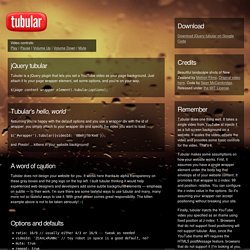 tubular, a YouTube Background Player jQuery Plugin | Sean McCambridge Design