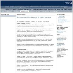Fakultät Erziehungswissenschaften - Ausgewählte Publikationen und Vorträge