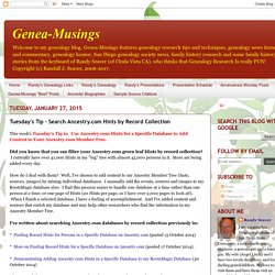 Tuesday's Tip - Search Ancestry.com Hints by Record Collection