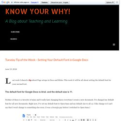 Tuesday Tip of the Week - Setting Your Default Font in Google Docs
