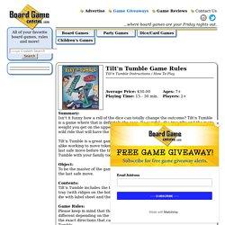 Tilt'n Tumble Rules, Instructions & Directions