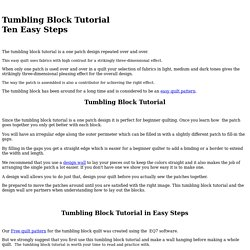 A Tumbling Block Tutorial in Ten Easy Steps