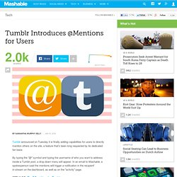 Tumblr Introduces @Mentions for Users