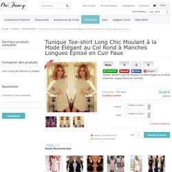 Tunique Tee-shirt Long Chic Moulant à la Mode Elégant au Col Rond à Manches Longues Epissé en Cuir Faux - Robes de mode - Vêtements