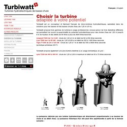 Choisir sa turbine - Turbiwatt, turbines hydroélectriques de basse chute