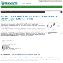 Global Turbocharger Market Massively growing at a CAGR of 7.8% from 2016 to 2022
