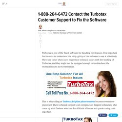1-888-264-6472 Contact the Turbotax Customer Support to Fix the Software