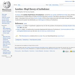 Landau–Hopf theory of turbulence, wikipedia