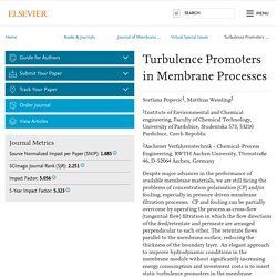 Turbulence Promoters in Membrane Processes - Journal of Membrane Science