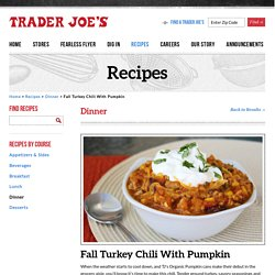 Fall Turkey Chili With Pumpkin
