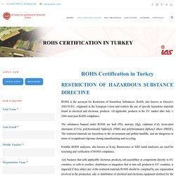 ROHS Certification Services in Turkey