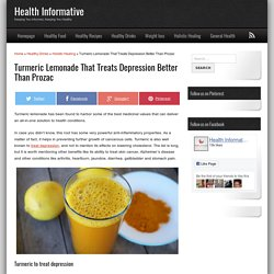 Turmeric Lemonade That Treats Depression Better Than Prozac