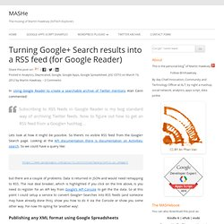 Turning Google+ Search results into a RSS feed (for Google Reader)