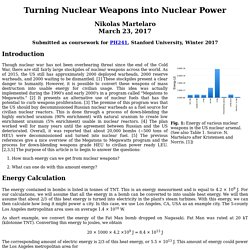 Turning Nuclear Weapons into Nuclear Power