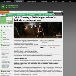 Q&A: Turning a Telltale game into 'a Telltale experience'