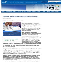 Turnout and reasons to vote in Election 2014:Friday 2 May 2014