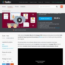 TUTO Formation Macros et langage VBA avec Vba sur Tuto.com