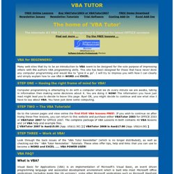 VBA Tutor - Help, Tutorials and Free Lessons.