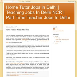 Home Tuition - Need of the hour