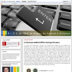 Le tutorat pour améliorer le ROI du e-learning et des moocs