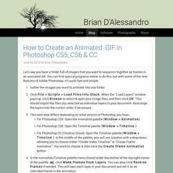 Tutorial to create an Animated GIF in Photoshop CS5 CS6 & CC | briandalessandro.com
