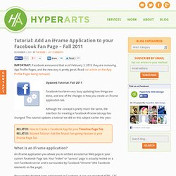 Adding an iFrame Application to your Facebook Fan Page – 2011