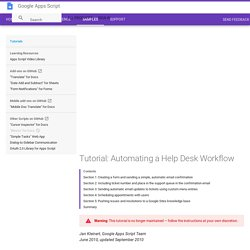 Tutorial: Automating a Help Desk Workflow - Google Apps Script