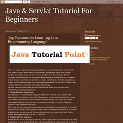 Java & Servlet Tutorial For Beginners: Top Reasons for Learning Java Programming Language