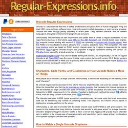 Regex Tutorial - Unicode Characters and Properties