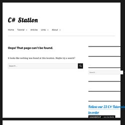C# Station: C# Tutorial - Introduction