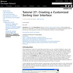 Tutorial 27: Creating a Customized Sorting User Interface
