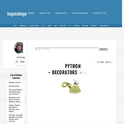 Python Tutorial: decorators (functions and classes) - 2013