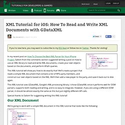 How To Read and Write XML Documents with GDataXML