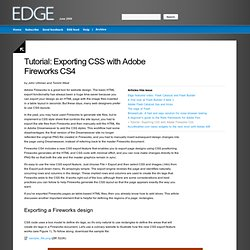 Edge: June 2009 - Tutorial: Exporting CSS with Adobe Fireworks CS4
