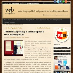 Tutorial Exporting a Flash Flipbook from inDesign CS5