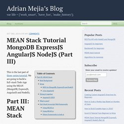 MEAN Stack Tutorial MongoDB ExpressJS AngularJS NodeJS (Part III) - Adrian Mejia's Blog