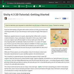 Unity 4.3 2D Tutorial: Getting Started