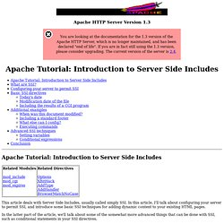 Apache Tutorial: Introduction to Server Side Includes