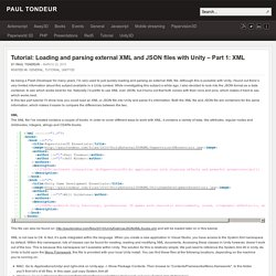 Tutorial: Loading and parsing external XML and JSON files with Unity – Part 1: XML