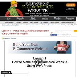 Thesis Tutorial – Marketing Component of an E-Commerce Website