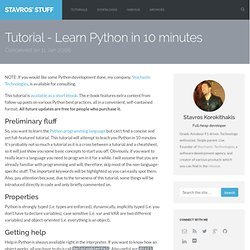 Tutorial - Learn Python in 10 minutes - Stavros' Stuff